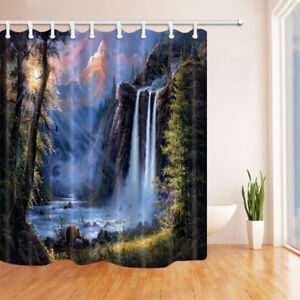 Forest Decor Brown Bears Waterfalls at Sunrise Bathroom Shower Curtain 71 Inch