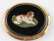 Antique 1850 Cavalier King Charles Spaniel Micro Mosaic Onyx 14K Gold Brooch 18g