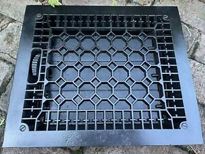 Large Heavy CAST IRON Ornate Louvered Working HEAT Grate Antique Window Vent #4
