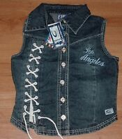 Los Angeles Lakers Sleeveless Laced Jean Jacket Ladies Large Embroidered NBA