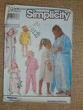 SIMPLICITY PATTERN #7027 - NIGHTGOWN, PJS, BABY DOLLS & ROBE - GIRLS S-L - UNCUT