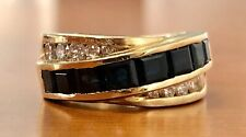14K Solid Yellow Gold 4.5 TCW Natural Diamond & Blue Sapphire Men's Ring 12.4 Gr