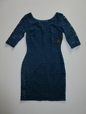 NWT Laundry by Shelli Segal Petite Poseidon Blue Elbow Sleeve Lace Dress 4P