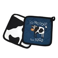 Lazy One Pot Holder Cow In The Mood For Food Blue Black White Hot Pad