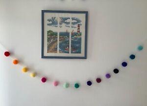 Pompom bunting garland string RAINBOW wool teepee nursery childrens wall baby