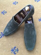 New John Lobb Mens Shoes Green Suede Loafers UK 10.5 US 11.5 44.5 Slipper House