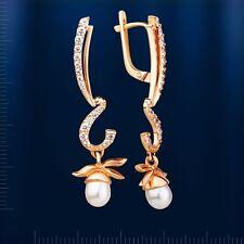 Weiße Perlen 14 kt Rotgold 585 Ohrhänger Russische Ohrschmuck Neu Glänzend
