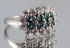 Smaragd - Emerald Ring, 925er Silber, Gr. 17, Juwelo, mit Zertifikat