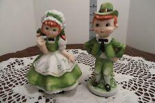 Vintage Lefton Irish Boy and Girl St. Patricks's Day Figurines Kw4461