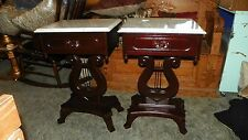 Pair of Mahogany Carved Lyre Base Marble Top End Tables / Side Tables  (T638)