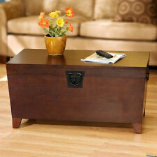 Brown Lift Top Trunk Storage Coffee Table Home Living Room Den Furniture
