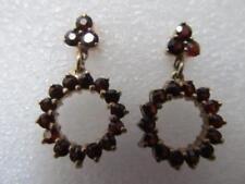 Vintage Bohemian Rose-Cut Garnet Dangle Drop Hoop Earrings