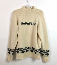 Napapijri Mens Wool Knitted Sweater Ski Pullover Beige Gray Italy Size Large