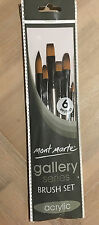 6pc Mont Marte Acrylic Brush Art Paint Brushes Taklon Filbert Round Flat Craft