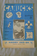 Original 1963-64 Western Hockey League Vancouver Canucks Vs Buckaroos Program