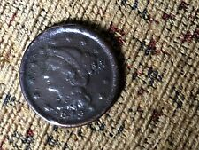 1849 1C Braided Hair Large One Cent Very Good Details VG