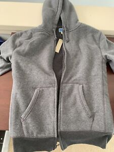 J.Crew Pullover Hoodie in Cloud Fleece In Heather Gray Size Medium NWT $79.50