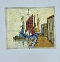 Felix Hatz Oil on Canvas Fishing Boats by a Quay - Signed