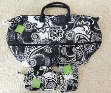 VERA BRADLEY MIDNIGHT PAISLEY EXPANDABLE TRAVEL BAG COSMETIC CURLING NWT 3 PC