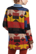 ANTHROPOLOGIE LODESTAR CARDIGAN SPARROW SWEATER JACKET MULTI COLOR S GEO PRINT