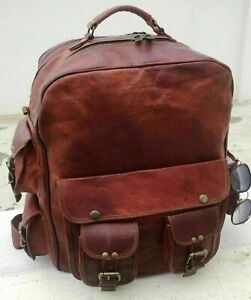 Men's Large Backpack Genuine Vintage Leather Rucksack Travel Office Laptop Bag