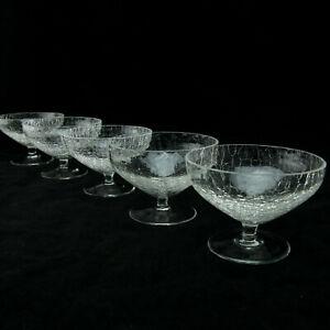 Sektschalen Sektglas 5 Stück Crashglas Eisglas Krakelee Glas 60er modern zeitlos
