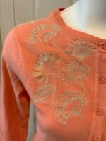 Sparrow Anthropologie Peach Pink Floral Stitched Cardigan Sweater, Size XS