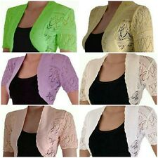 New Ladies Bolero Women Cropped Crochet Knitted Waterfall Open Cardigan 8-26