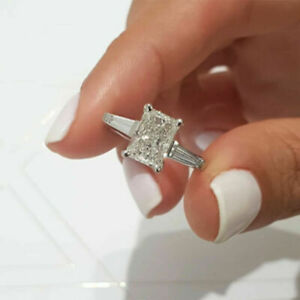 Emerald Cut 2.50 Carat 14K White Gold Diamond Engagement Rings Size M N O P Q
