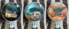 Badge Reel Retractable ID Name Card Holder Steampunk Grumpy Wacky Cats Kittens