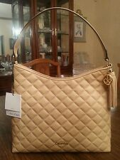 Calvin Klein genuine quilted leather hobo, color nude