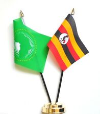 Uganda & African Union Double Friendship Table Flag Set