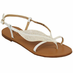 Ladies Flat Sandals Womens Diamante Buckle Strap Casual Fashion Summer Party New