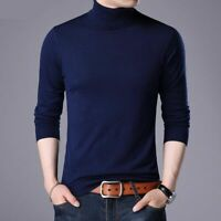 Turtleneck Warm Sweater Slim Fit Autumn Men Casual Pullover Knitted Long Sleeve