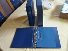 2 Lindner Album mit Schuber, 13 Ring Mech. 1103 blau für ETB und Ansichtskarten