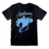 Men's Aladdin Genie Applause Black T-Shirt - Unisex Disney Adult Tee