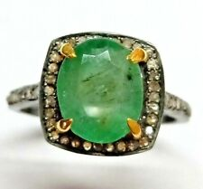 Natural Emerald Diamond Ring 925 Sterling Silver Oval Green Stone Women Jewelry