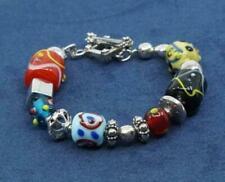 Silpada Art Glass Bead Lampwork Sterling Silver Bracelet Toggle Clasp B0871
