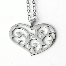 """C334 Hollow Hole Design COLORFUL Love Heart Stainless Steel Rainbow Chain 18/"""""""
