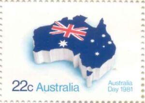 Australian Mint 1981 Australia Day 22c Stamp Aussie Continent Flag variety Issue