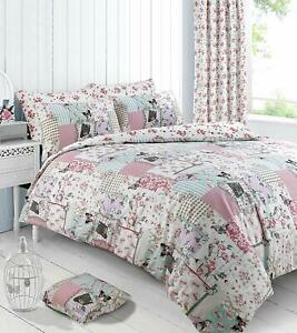 Shabby Chic Vintage Double Size Bedding Set Duvet Quilt Cover With Pillowcases