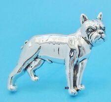 Boston Terrier Dog Breed Pin - Brooch -Pendant Slider Silver Plated