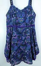 ** FREE PEOPLE  **  Gorgeous Gypsy Hippie Boho Purple Floral Top Size 8
