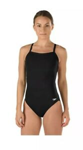 NEW NWT SPEEDO Youth Black Endurance Plus Flyback Training Competitive Suit 8 24