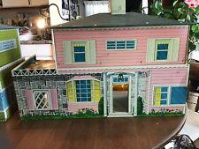 Vintage 1950's Toy Metal Doll House Tin Litho Furniture Box