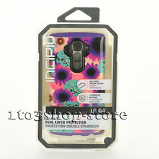 Incipio LG G4 Dualpro 2 Layers Snap On Case Cover Flowers Purple