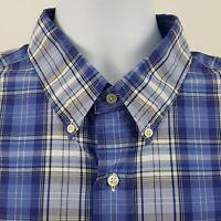 Ralph Lauren Classic Fit Blue Plaid Check L/S Casual Button Shirt Sz 2XL XXL