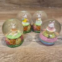 LOT Greenbrier International Easter Bunny 3.5 Inch Snow Globe Collection of 4