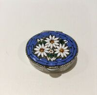 Vintage Lovely Italy Micro Mosaic Blue White Flower Detail Silver Tone Pill Box