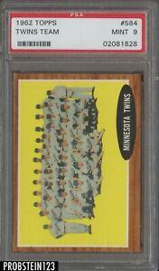 1962 Topps #584 Minnesota Twins Team w/ Harmon Killebrew HOF PSA 9 MINT